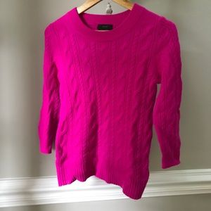 Jcrew Italian Cashmere hot pink cable knit sweater